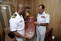 100323-N-OX597-187 Indian navy Vice Adm. D. K. Joshi, right presents a wooden plaque.jpg