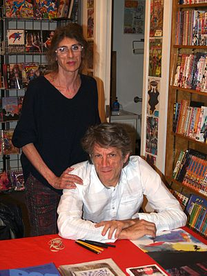 Marguerite Van Cook - Van Cook and her partner, James Romberger, at a November 2014 signing for The Late Child at Jim Hanley's Universe in Manhattan