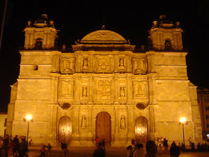 Cathedral of Our Lady of the Assumption, Oaxaca - The front of the Cathedral at night.
