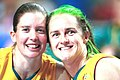 141100 - Wheelchair basketball Alison Mosely Liesl Tesch celebrate - 3b - 2000 Sydney match photo.jpg