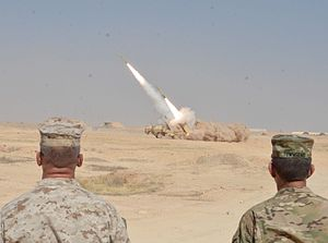 American-led intervention in Iraq (2014–present) - General Stephen J. Townsend observes a HIMARS strike that destroyed a building near Haditha, September 2016