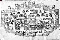 1634 Munich map of Jerusalem, produced in Jerusalem and Mar Saba.jpg