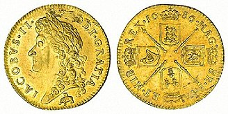 Royal African Company - 1686 guinea showing the company's symbol, an elephant and castle, under bust of James II