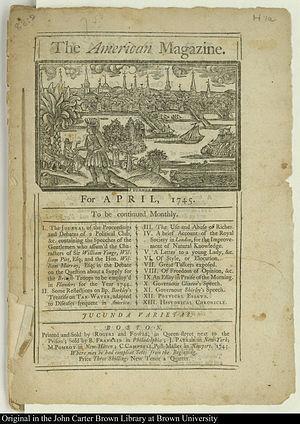 Daniel Fowle (printer) - Image: 1745 American Magazine Rogers Fowle Boston 01724005