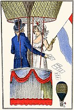 "1797-1798 depiction of Garnerin conducting a ""voyage aérien"" with ""la citoyenne Henri"""