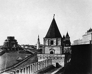 Cathedral of Christ the Saviour - The building under construction in 1852 (as seen from the Kremlin)