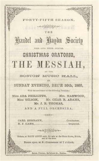 Handel and Haydn Society - Annual Christmas oratorio, the Messiah, at the Boston Music Hall, on Sunday evening, December 30, 1860