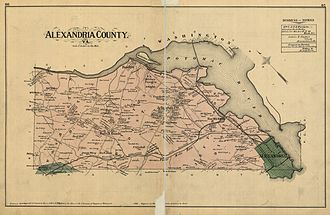 Alexandria, Virginia - Map of Alexandria County (1878), including what is now Arlington County and the City of Alexandria. Map includes the names of property owners at that time. City boundaries roughly correspond with Old Town.