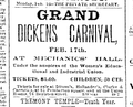 1885 Dickens MechanicsHall BostonEveningTranscript Feb14.png