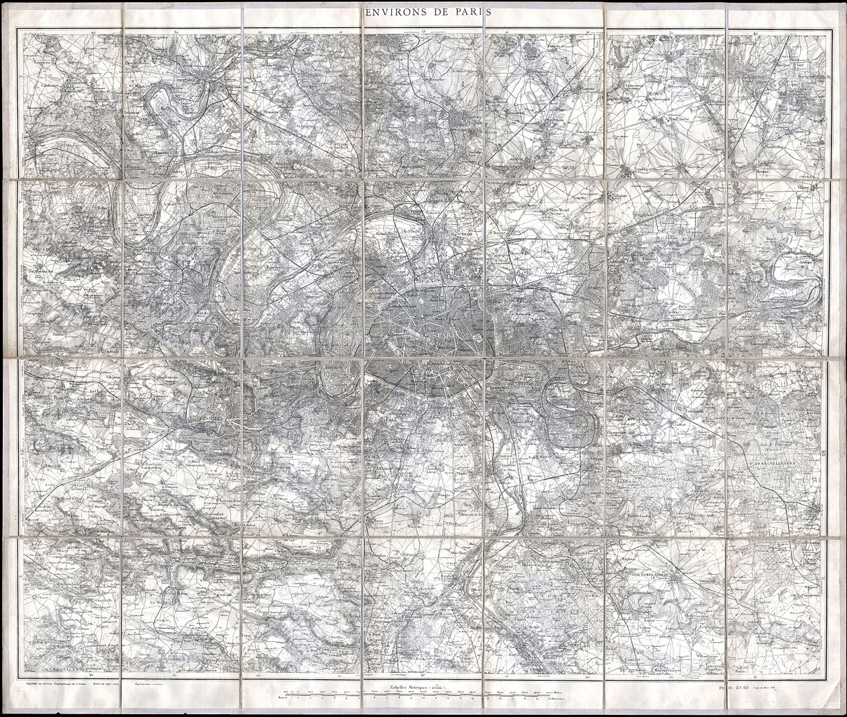 Metric Size Chart: 1902 L7Armee Case Map of Paris and Environs - Geographicus ,Chart