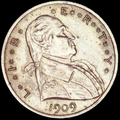 "1909 obverse, with Washington facing right and two stars between each letter in ""Liberty"""