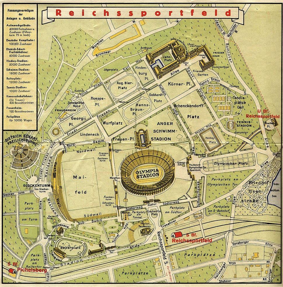 1936 Summer Olympics Reichssportfeld map