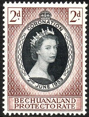 Bechuanaland Protectorate - Stamp with portrait of Queen Elizabeth II, 1953