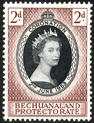 Bechuanaland Protectorate - Stamp with portrait of Queen Elizabeth II, 1953