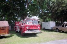 Decommissioned 1973 Ford C-900 fire truck, for sale at a restaurant in Land o' Lakes, Florida - the truck was sold at some point.