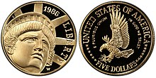 1986 Statue of Liberty-Proof Five Dollars