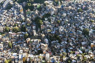 Crime in Brazil - An overhead view of Rocinha, the largest favela in Brazil; Rio de Janeiro, 2014.
