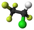 Ball-and-stick model of 2-chloro-1,1,1,2-tetrafluoroethane