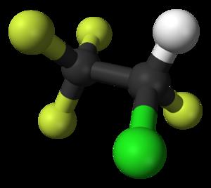 1-Chloro-1,2,2,2-tetrafluoroethane - Image: 2 chloro 1,1,1,2 tetrafluoroethane 3D balls