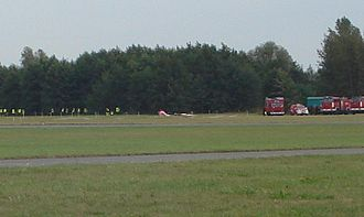 Radom Air Show - 2007. One of the aircraft has just fallen to the ground after the collision.