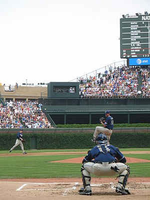Chris Young (pitcher) - Chris Young warms up before game at Chicago