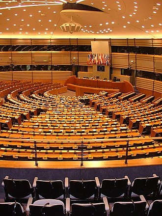 Institutional seats of the European Union - The parliamentary hemicycle of the Paul-Henri Spaak building in Brussels