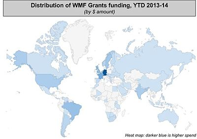 Funding from WMF grants programs by location in Fiscal Year 2013-14.