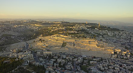 Sunset aerial photograph of the Mount of Olives Israel-2013-Aerial-Mount of Olives.jpg