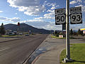 2014-08-09 18 15 07 View west along U.S. Route 50 and north along U.S. Route 93 about 68.1 miles east of the Eureka County line in Ely, Nevada.JPG