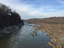 2015-12-08 13 42 27 View northwest up the Potomac River at Little Falls from the Chain Bridge on the border of Washington, District of Columbia and Arlington, Virginia.jpg