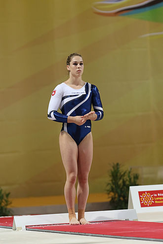 Giulia Steingruber - Steingruber about to vault at the 2015 European Championships.