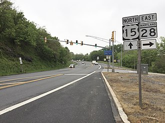 U.S. Route 15 in Maryland - View north along U.S. 15 just north of Point of Rocks Bridge