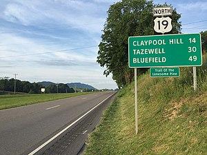 U.S. Route 19 in Virginia - View north along US 19 in Rosedale