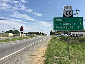 Virginia State Route 100 - View north along SR 100 just south of Dublin