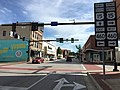 2017-06-27 17 43 26 View south along U.S. Route 15 Business (Main Street) at U.S. Route 460 Business (Third Street) and at the south end of Virginia State Route 45 in Farmville, Prince Edward County, Virginia.jpg