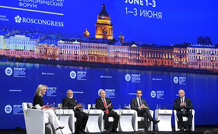 At a conference in St. Petersburg, NBC's Megyn Kelly repeatedly questioned Putin about alleged Russian cyberattacks. 2017 St Petersburg International Economic Forum plenary meeting (5).jpg