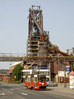 206 Silesian Interurbans, 105N car, Nowy Bytom, steel works.jpg