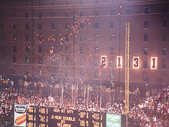 Baltimore Orioles - The numbers on the Orioles' warehouse changed from 2130 to 2131 to celebrate Cal Ripken, Jr. passing Lou Gehrig's consecutive games played streak.
