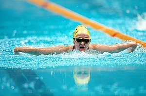 Tracey Cross - Action shot of Cross in the pool during competition at the 2000 Summer Paralympics