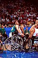 251000 - Wheelchair basketball David Gould off ground - 3b - 2000 Sydney match photo.jpg