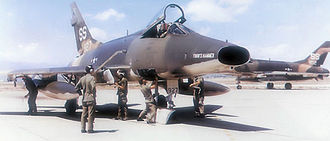 31st Fighter Wing - North American F-100D-60-NA Super Sabres Serials 56-2927 (Front) and 56-2952 of the 309th TFS on the ramp at Tuy Hoa AB South Vietnam, April 1970.