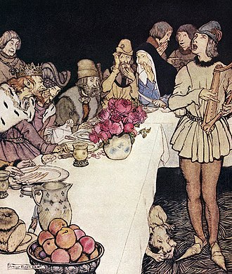"Dinadan - ""How at a great feast that King Mark made came Eliot the harper and sang the lay that Dinadan had made."" Arthur Rackham's illustration forThe Romance of King Arthur (1917), abridged from Le Morte d'Arthur by Alfred W. Pollard"