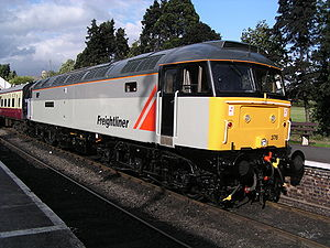 Freightliner Group - 47376 in original Freightliner livery. This locomotive was used to launch the company in 1995, being named Freightliner 1995. It is now preserved on the Gloucestershire Warwickshire Railway and is seen at Toddington on 25 September 2005