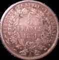 5 francs Cérès 1851 Revers.png
