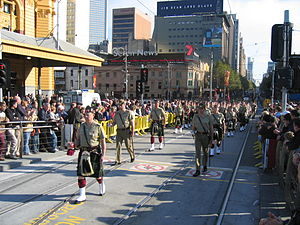 Royal Victoria Regiment - Royal Victoria Regiment marching down Swanston Street past Flinders Street Station, as part of the 2006 ANZAC Day Parade in Melbourne