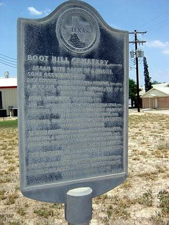 Tilden, Texas - The Historical Marker in front of Boot Hill Cemetery, June 2006