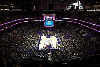 Wells Fargo Center (Philadelphia) - The 76ers playing the Los Angeles Lakers at the Wells Fargo Center in 2016.
