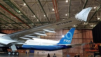 Boeing 777X - Folding wingtip at the 2019 roll-out
