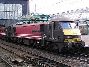 InterCity West Coast - Virgin Trains Class 90 at Carlisle station in August 2004