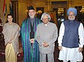 A.P.J. Abdul Kalam, the President of Afghanistan, Mr. Hamid Karzai, the Prime Minister, Dr. Manmohan Singh and the Chairperson, UPA, Smt. Sonia Gandhi at the presentation of the Indira Gandhi Prize for Peace.jpg